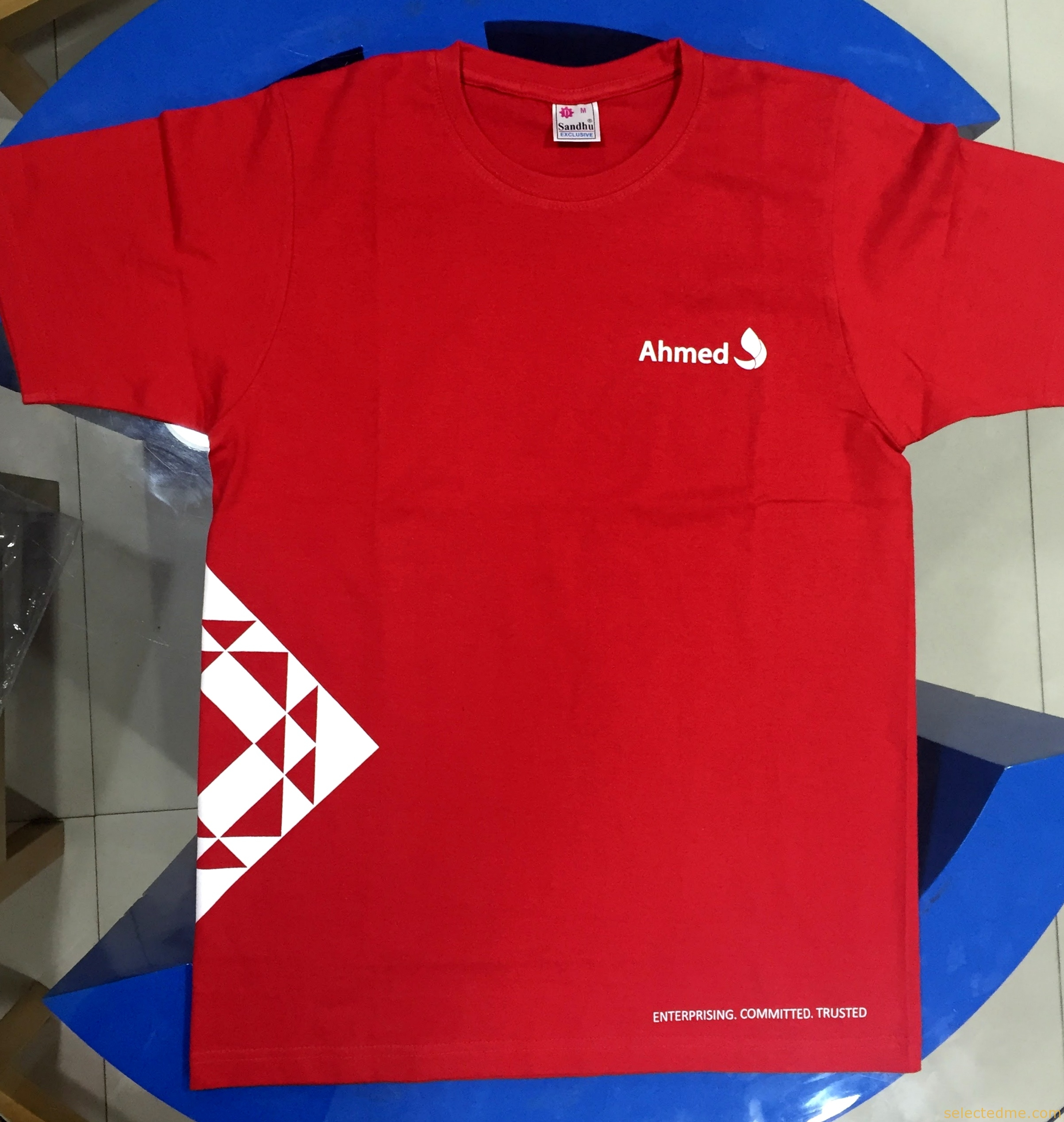 Blue apron uae - Red Color Round Neck T Shirt Withscreen Printing In Dubai Uae