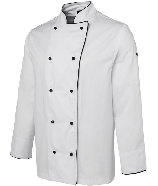 Chef jackets and coats white color with black piping customised.