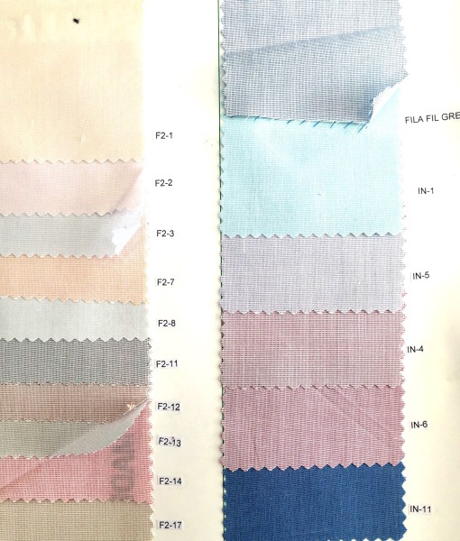 Fil a fil shirting fabric for shirts color card