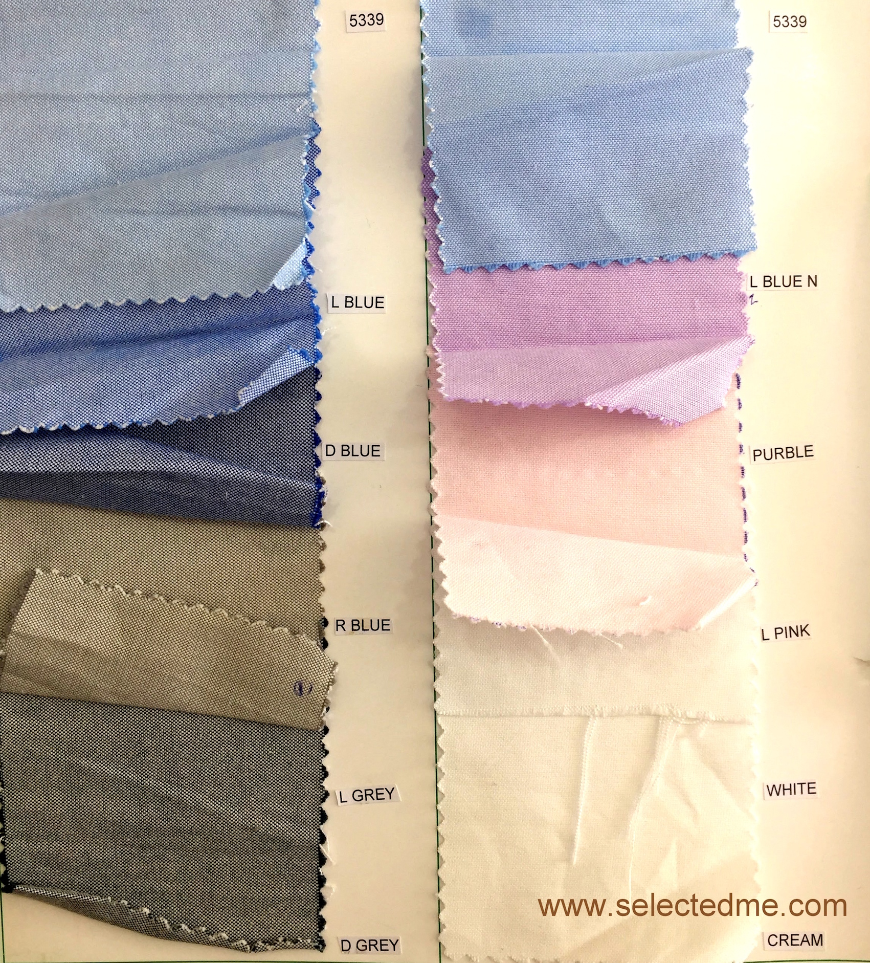 Oxford shirt fabric colour swatches for formal shirts uniform in Dubai UAE
