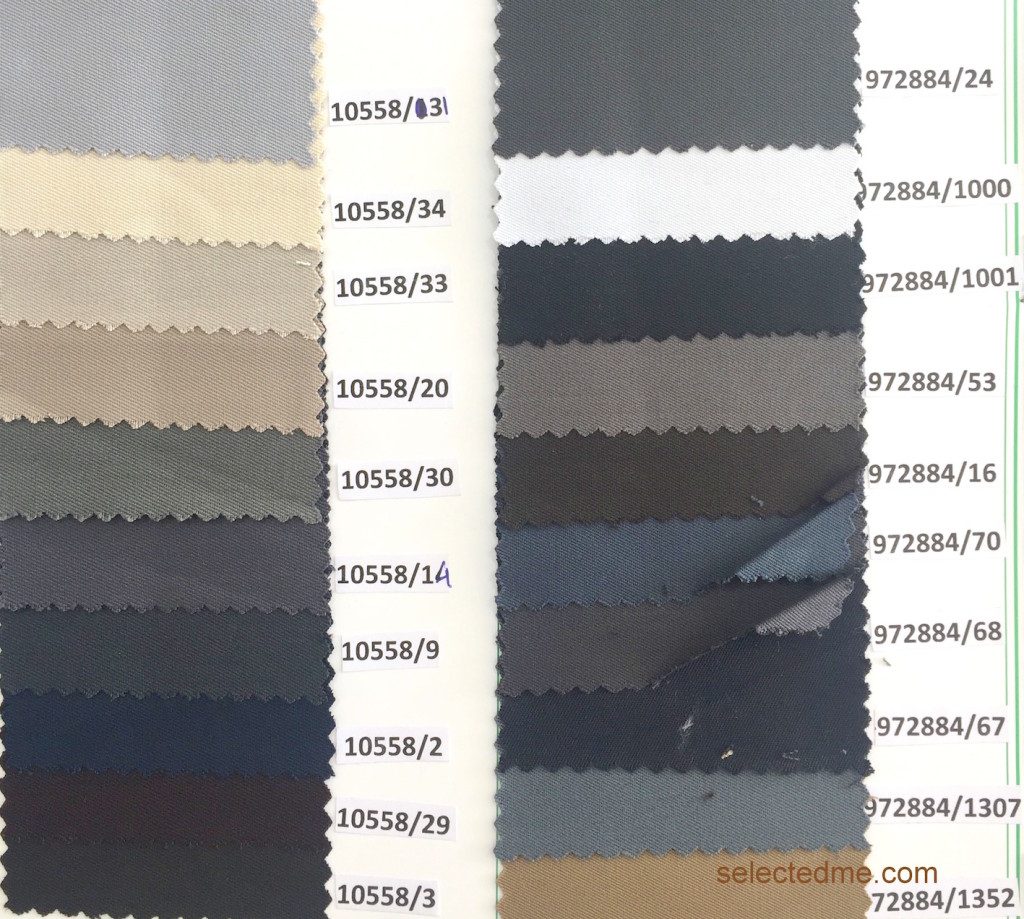 Pv gabardine Suiting for Trouser suits jackets coverall - colours chart