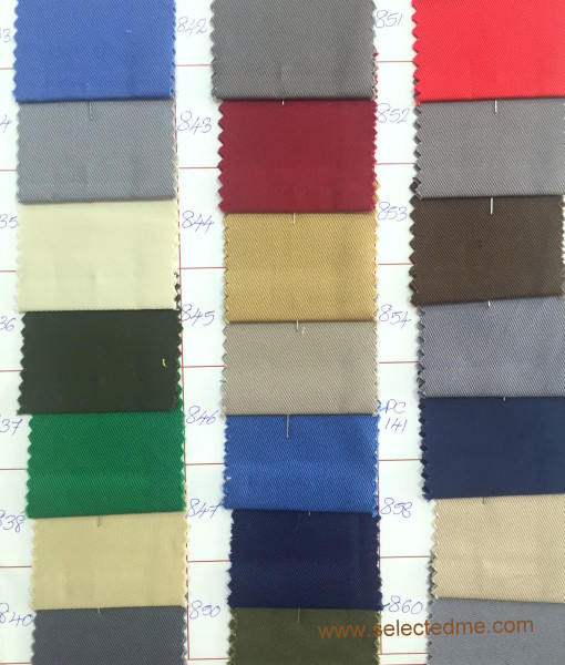 Pc twill colours for pant cargo trouser apron chef jacket, chef coats, overalls.