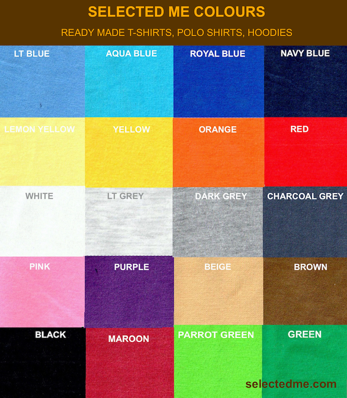 Polo T Shirts Colour Guide Card Readymade Stocks