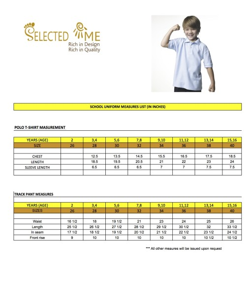 T-shirt measures for round neck V-neck T-shirt school polo. Size Guide