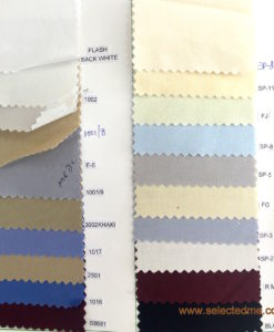 Shirt color swatches, color card