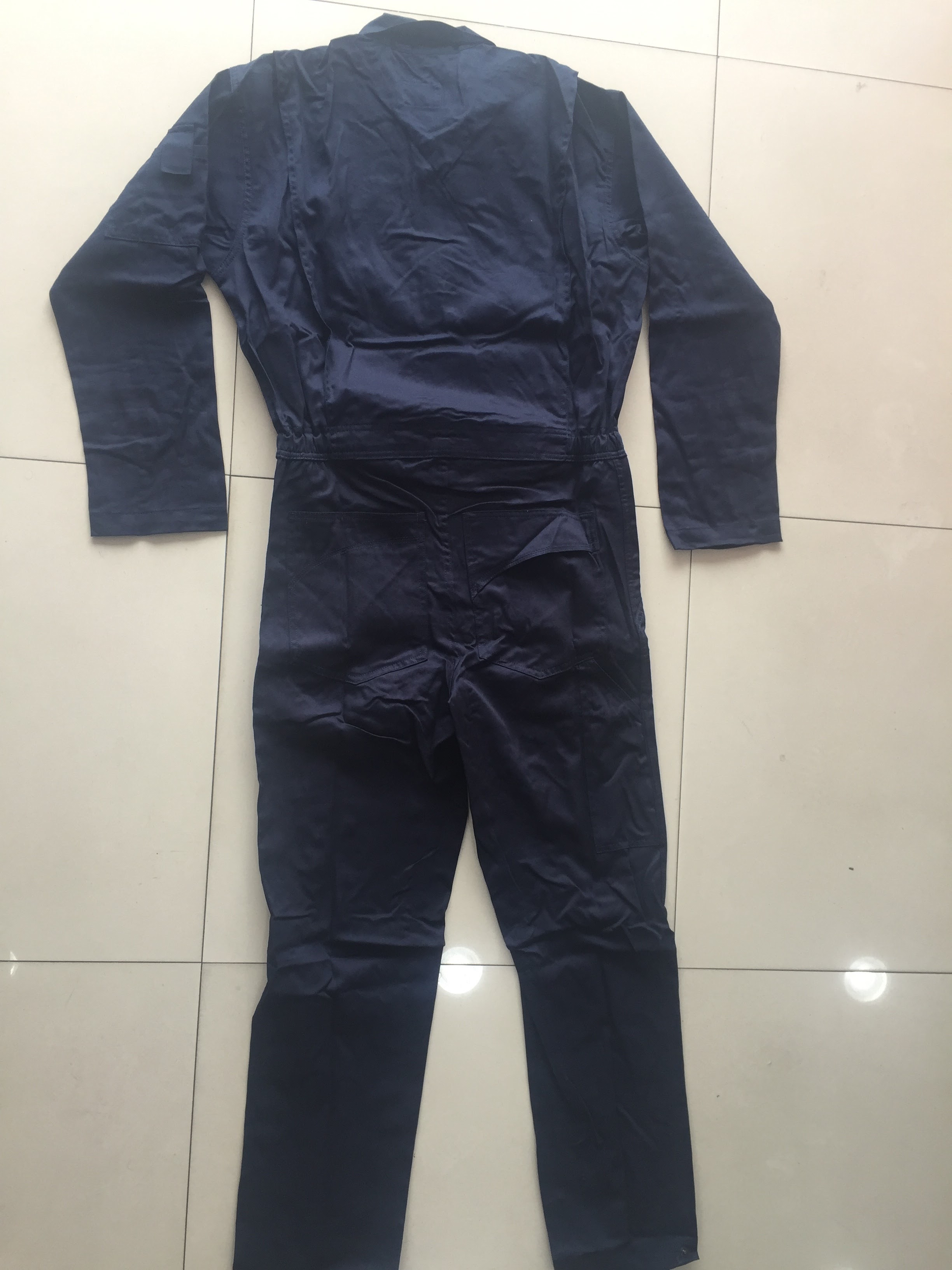 Branded coveralls over all backside view - Navy blue