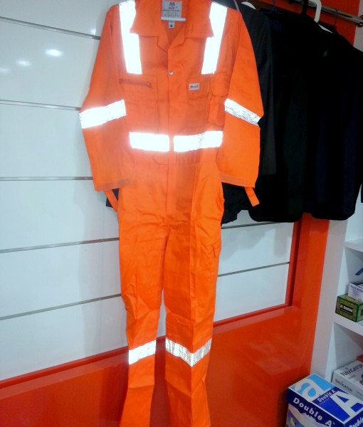 coveralls in Dubai UAE size with logo printing and embroidery with reflective tape attached with logo embroidery