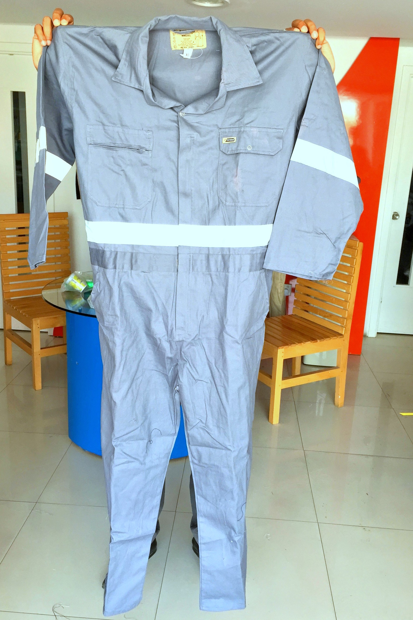 coveralls in Dubai UAE size with logo printing and embroidery with reflective tape front