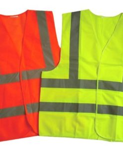 Reflective safety vest with reflective tape with logo print and embroidery Orange color, Green Colour
