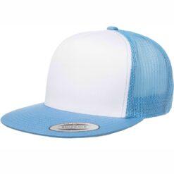 Trucker SnapBack Caps, Flat Peak, White Front Flexfit 6006W Caps