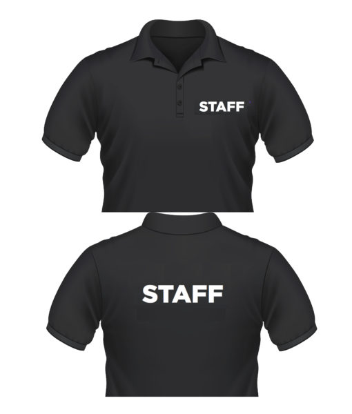 Event Staff T-shirts Polo shirt with staff printing on front and back