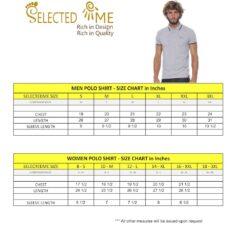 Polo shirt size guide measures for Boys Girls Men & Women