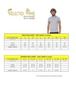 Polo shirt size guide measures for Boys Girls Men & Women