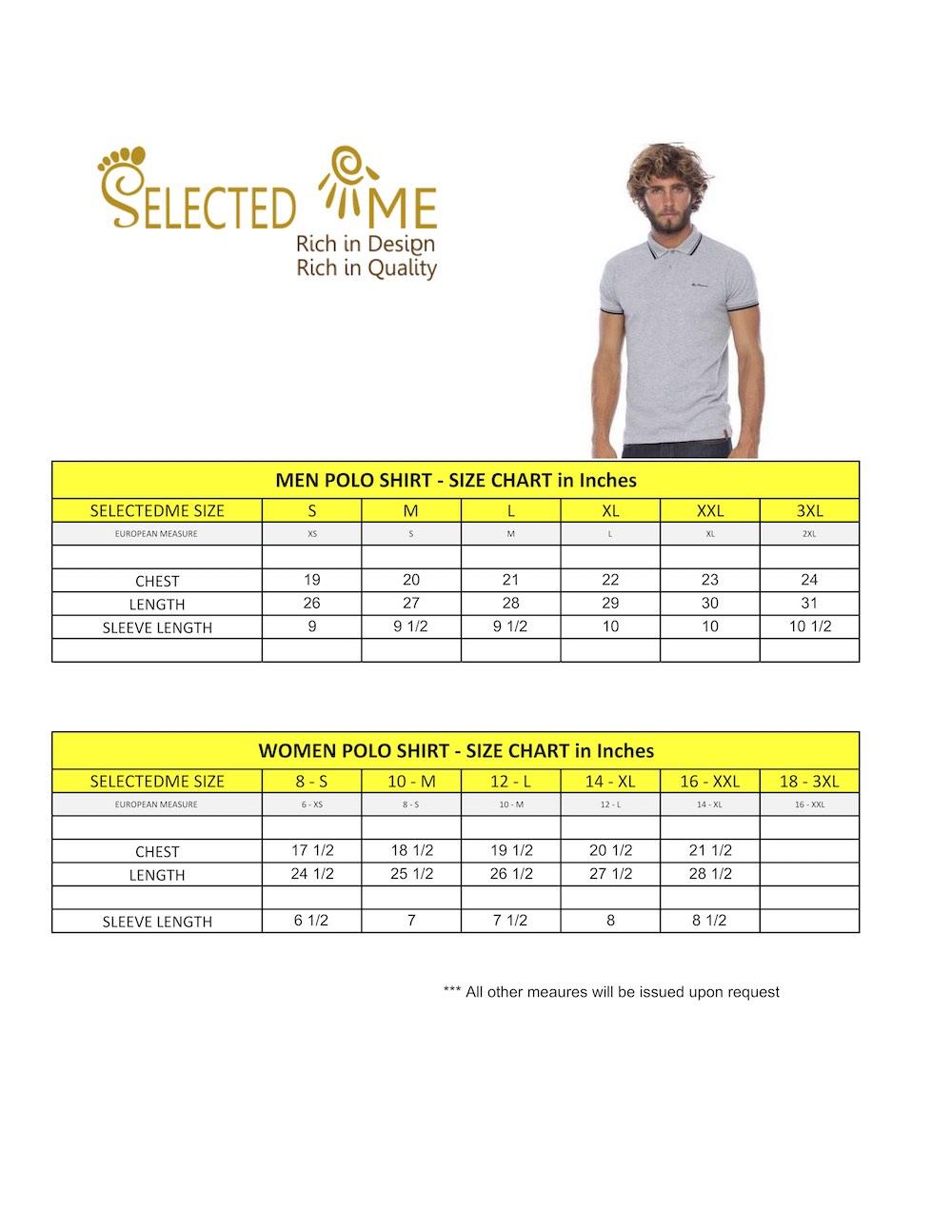 Polo shirt size Guide - Men, Women, Boys and Girls