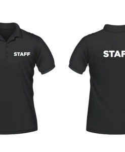 Polo shirt with staff printing on front and back embroidery