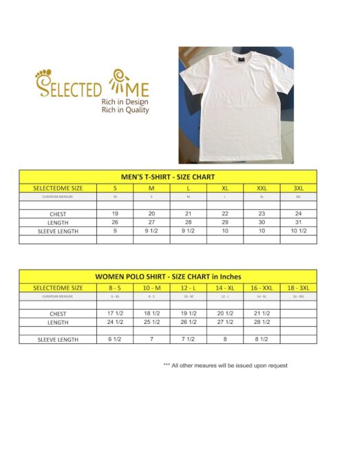 T-shirts size guide chart measuremtn size guide for Men Women School Boys & Girls